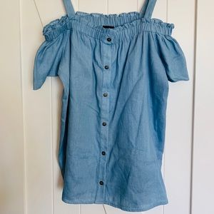 Lumiere Chambray Cold Shoulder Top